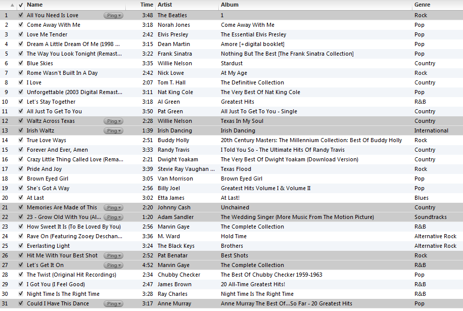Collings Playlist 2012 06 30 Wedding